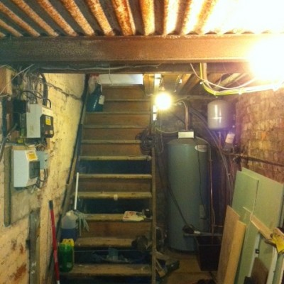 Heating installation in basement